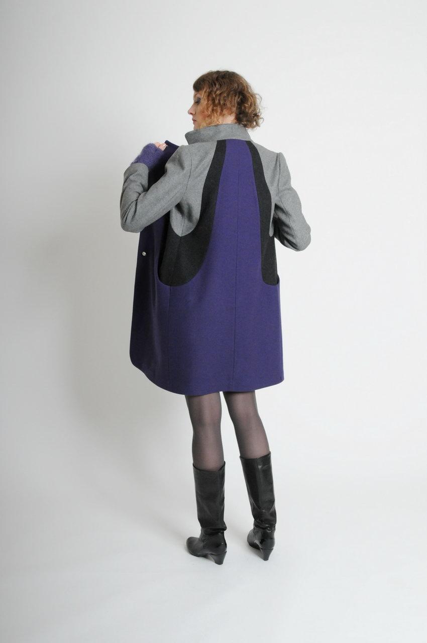 MADEVA Paris automne hiver 10/11 manteau trois/quarts droit plusieurs decoupes manches tailleur col rabattu poches decoupes devant laine melangee lainage gris clair gris anthracite violet eva v1