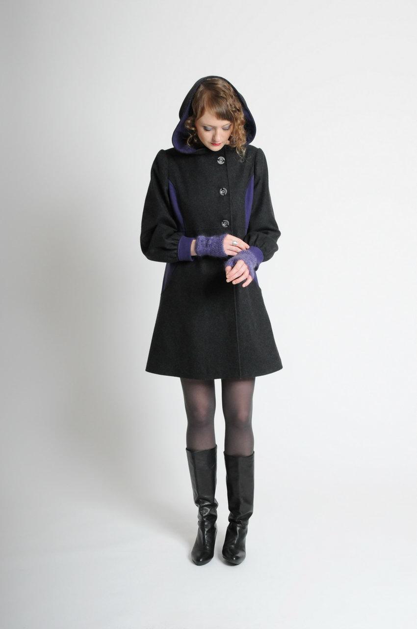 MADEVA Paris automne hiver 10/11 manteau capuche taille legerement haute cintree manches bouffantes poches decoupes devant laine melangee coton gris violet gaelle