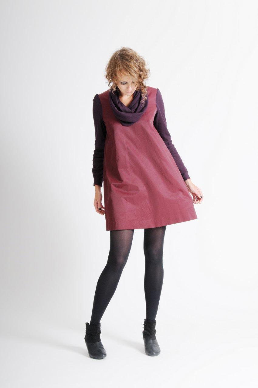 MADEVA collection automne hiver 11/12 Robe trapeze manches longues col echarpe coton bordeaux details jersey coton prune Sabine