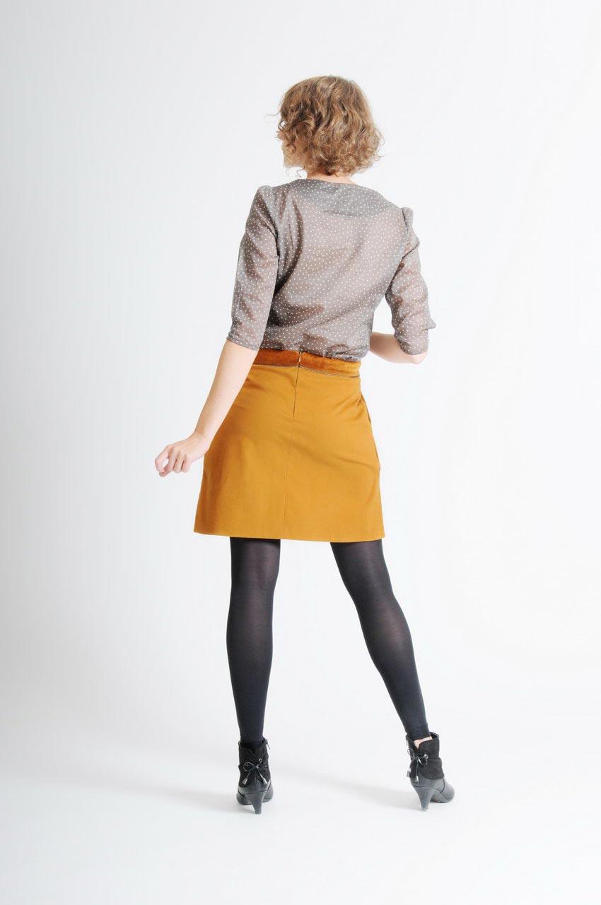 MADEVA collection automne hiver 11/12 Jupe trapeze poches italiennes decoupes devant details velour coton moutarde Clarisse Haut Sophie