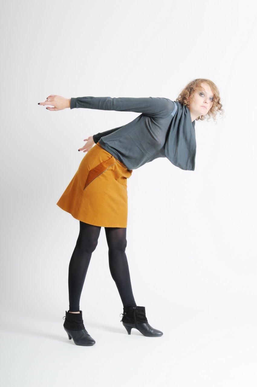 MADEVA collection automne hiver 11/12 Haut maille manches longues col bateau deuxieme col echarpe amovible jersey coton gris bleu Jeanne Jupe Clarisse