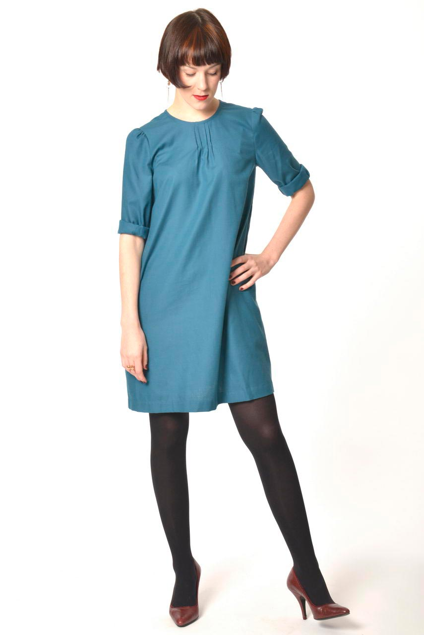MADEVA collection automne hiver 2013/14 robe trapeze manches 3/4 zip metallique dos coton viscose bleu canard mara