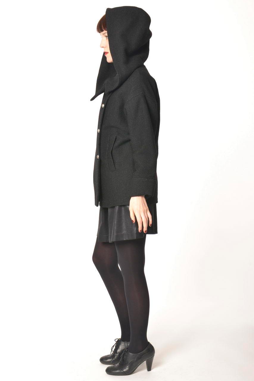MADEVA collection automne hiver 2013/14 veste large grande capuche manches longues laine noir uni lara