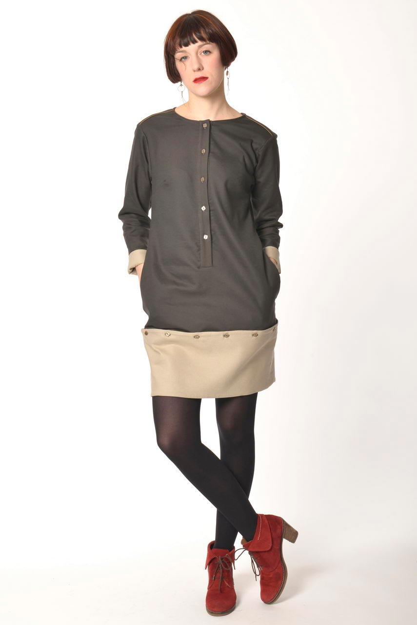 MADEVA collection automne hiver 2013/14 robe pull droite bas detachable manches longues coton vert kaki detail beige/ecru peppi
