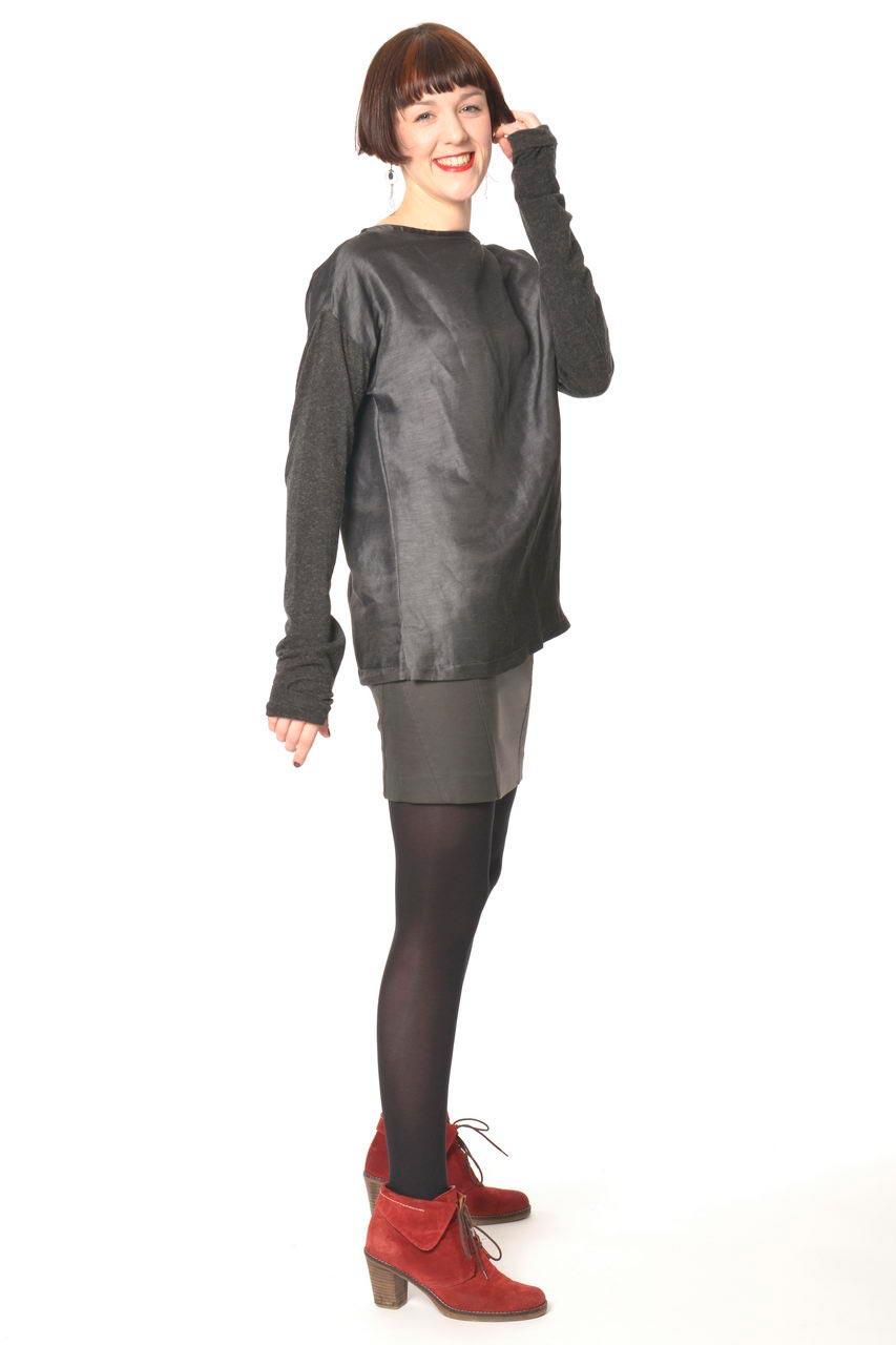 MADEVA collection automne hiver 2013/14 top tunique lin manches longues jersey laine col bateau gris anthracite gera jupe lou