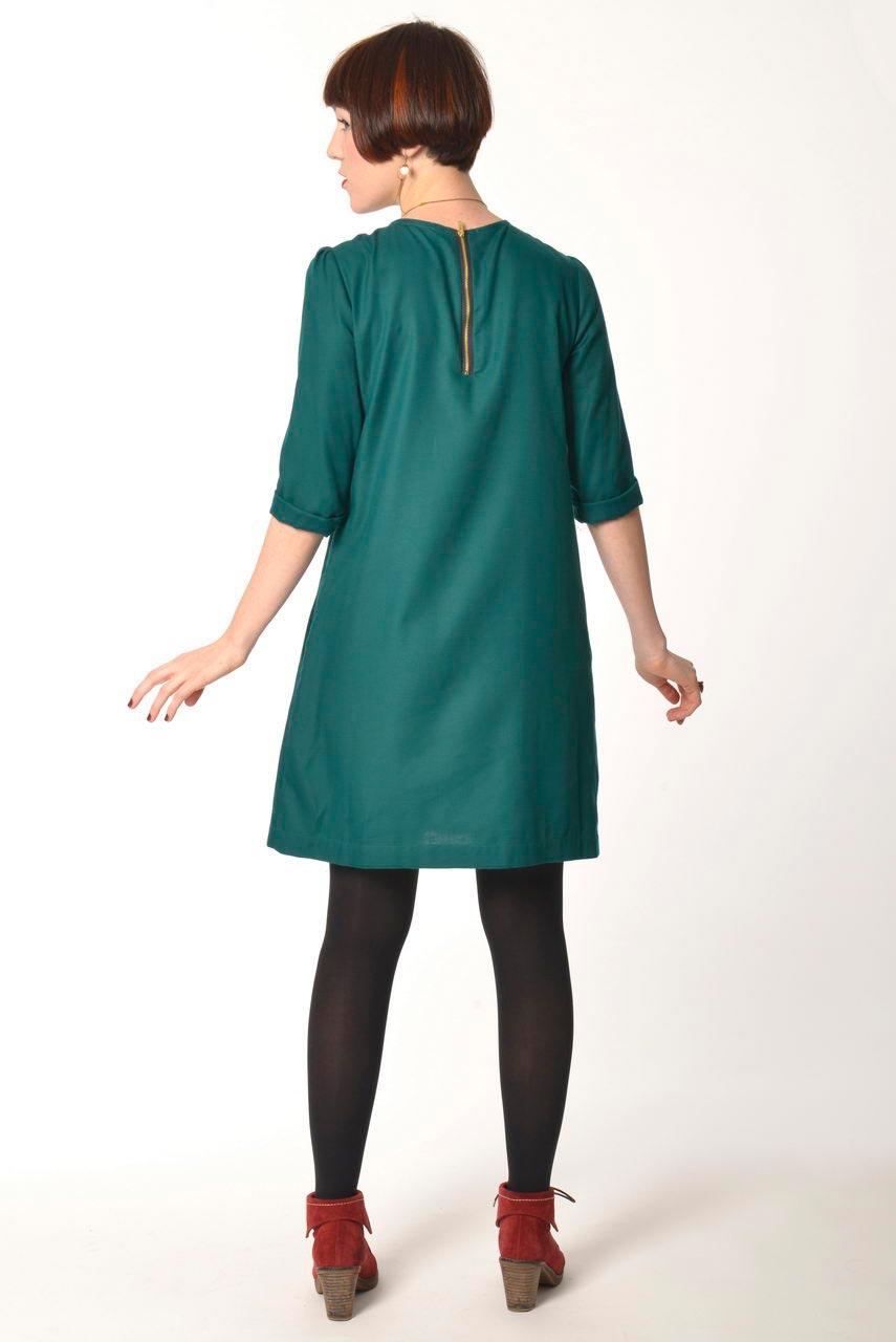 MADEVA collection automne hiver 2013/14 robe trapeze manches 3/4 zip metallique dos coton viscose vert emeraude mara