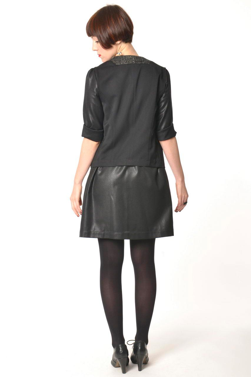 MADEVA collection automne hiver 2013/14 gilet droit sans manches col tailleur laine noir details gris chine uma robe mara