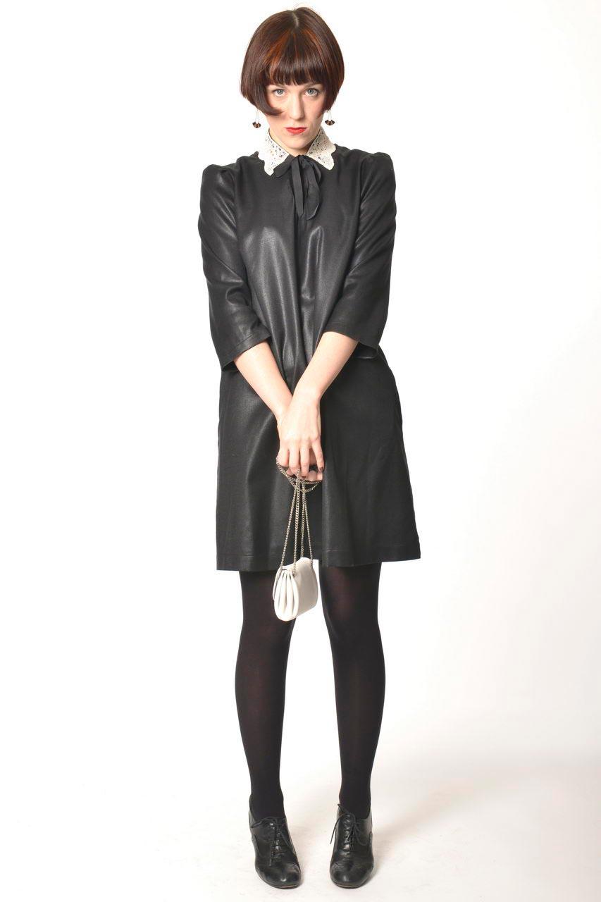 MADEVA collection automne hiver 2013/14 robe trapeze manches 3/4 zip metallique dos viscose laine noir laque mara