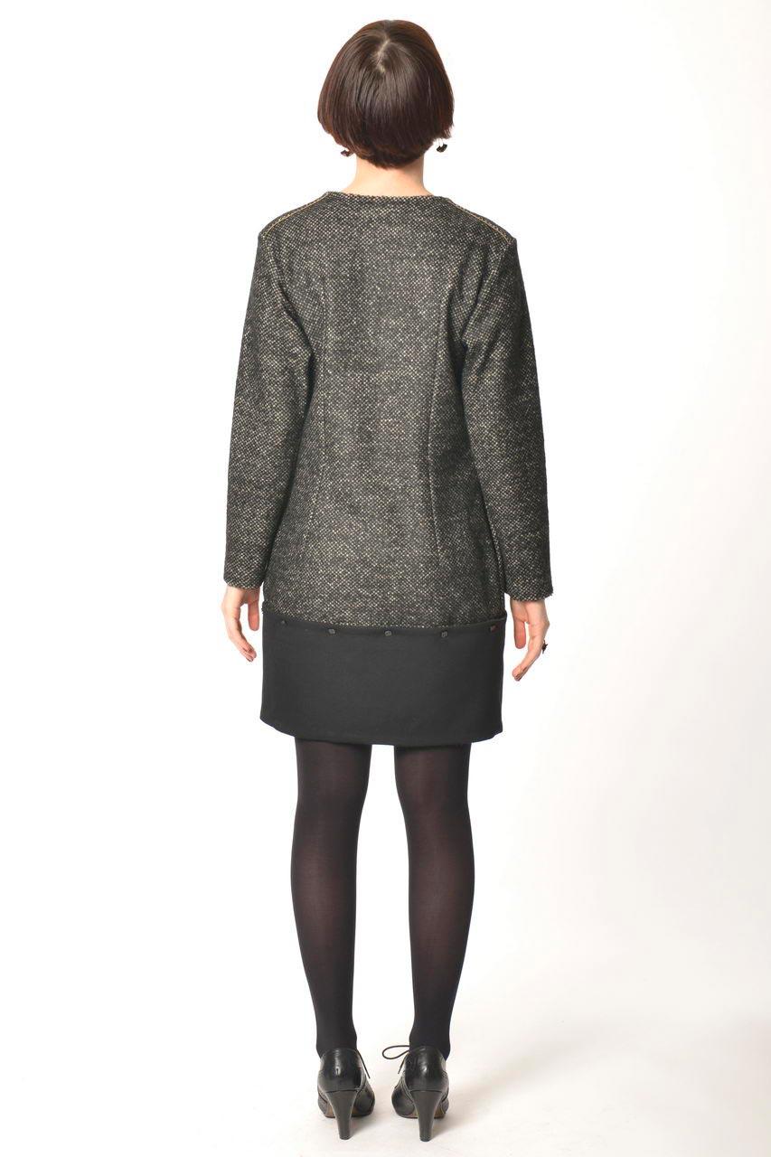 MADEVA collection automne hiver 2013/14 robe pull droite bas detachable manches longues laine gris chine details noir peppi