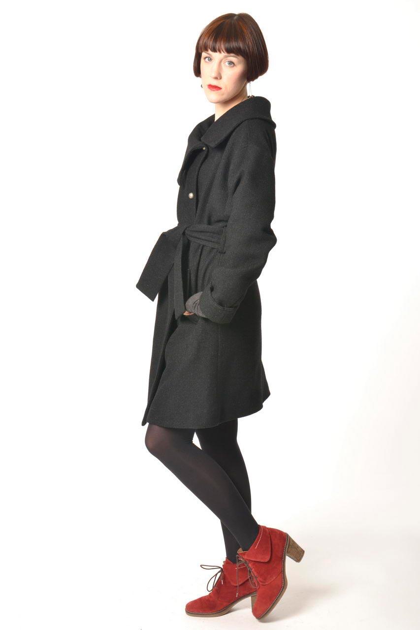 MADEVA collection automne hiver 2013/14 manteau droit manches longues col asymetrique ceinture taille laine noir kim