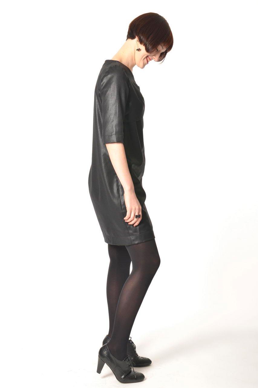 MADEVA collection automne hiver 2013/14 robe droite manches 3/4 col noeud devant zip metallique dos viscose laine noir laque mona